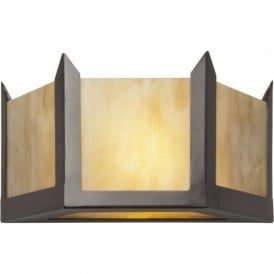 HUDSON Art Deco wall light in antique finish with amber glass (small)