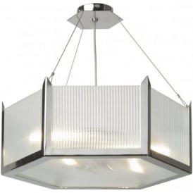 HUDSON chrome and glass Art Deco ceiling pendant light (large)