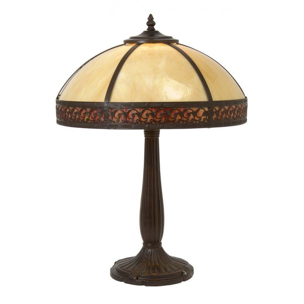 Edwardian Style Tiffany Table Lamp, Amber Glass Shade on ...