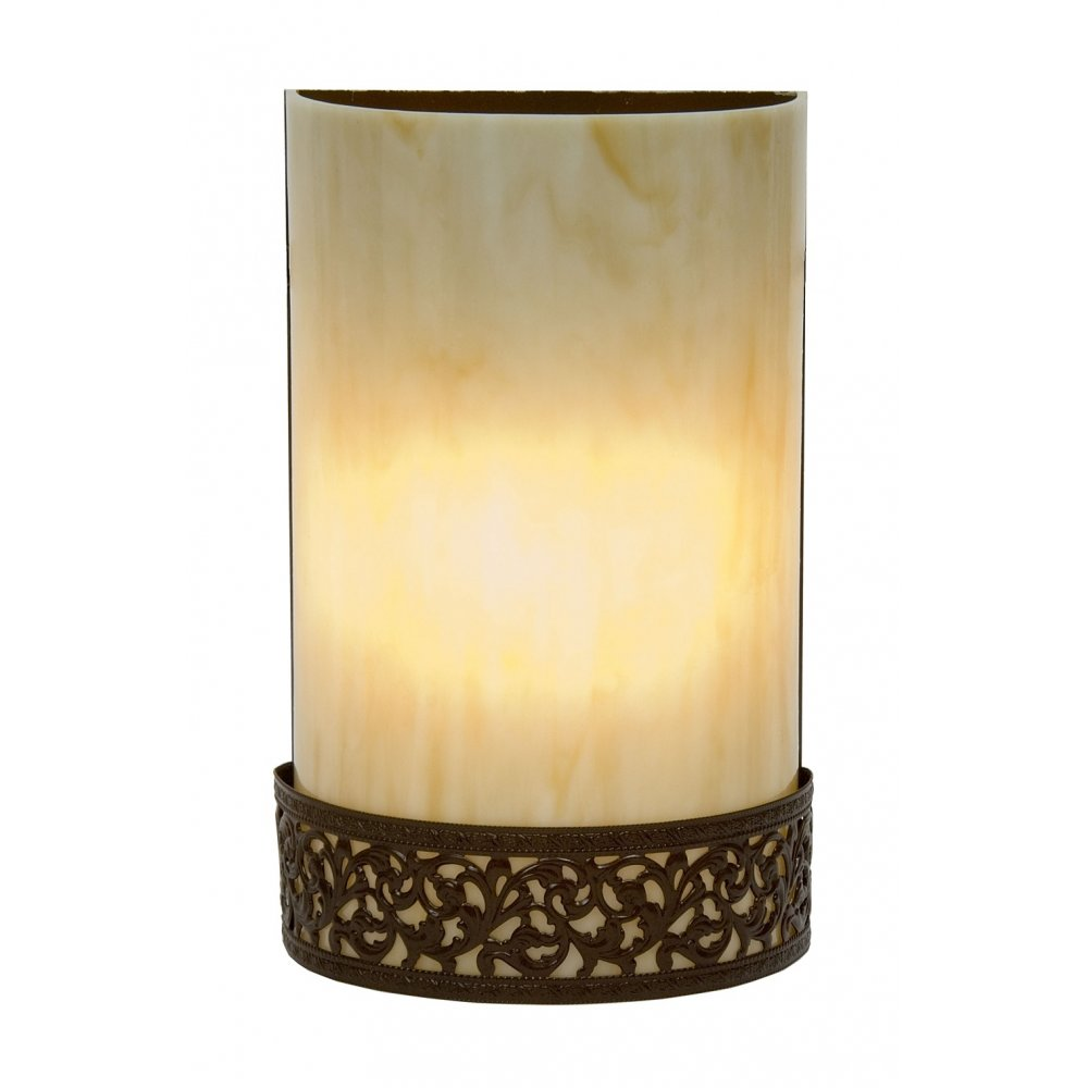 Amber Glass Wall Lights : Flush Fitting Tiffany Wall Light in Amber Glass with Antique Metalwork