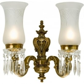 MAHARAJA cut glass double wall light with beads and droplets