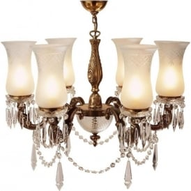MAHARAJA lavishly decorated chandelier with cut glass shades (medium)