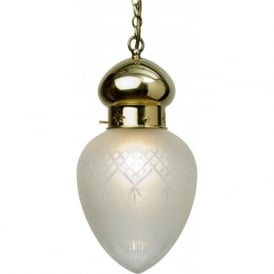 OTTOMAN traditional polished brass hall lantern, etched pineapple shade