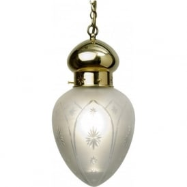 OTTOMAN traditional polished brass hall lantern, etched star shade