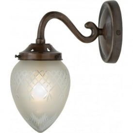 PINESTAR antique bronze single wall light with cut glass shade
