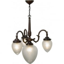 PINESTAR antique Victorian or Edwardian ceiling light with cut glass shades