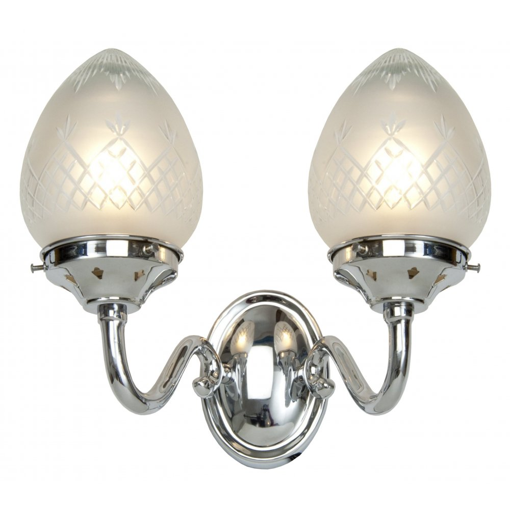 Etched Glass Wall Lights : Art Deco Double Wall Light in Chrome with Pineapple Pattern Glass