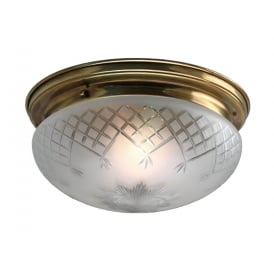 PINESTAR flush fitting etched glass low ceiling light with aged brass surround - small