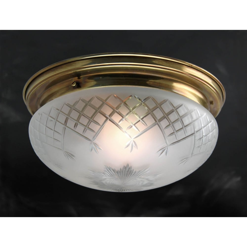 Flush fitting victorian ceiling light with hand made etched glass shade pinestar flush fitting etched glass low ceiling light with aged brass surround small aloadofball Images