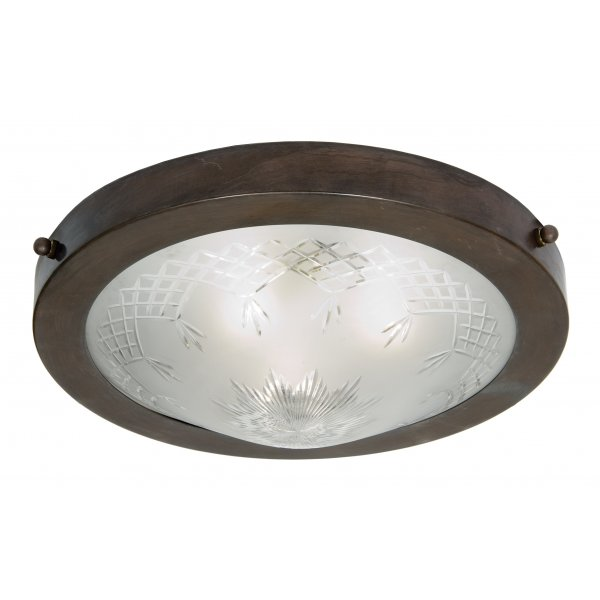 Flush Fitting Traditional Ceiling Light With Patterned Glass Shade