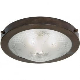 PINESTAR traditional circular flush fitting low ceiling light, etched glass shade