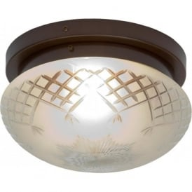 PINESTAR traditional flush fitting etched glass low ceiling light (medium)