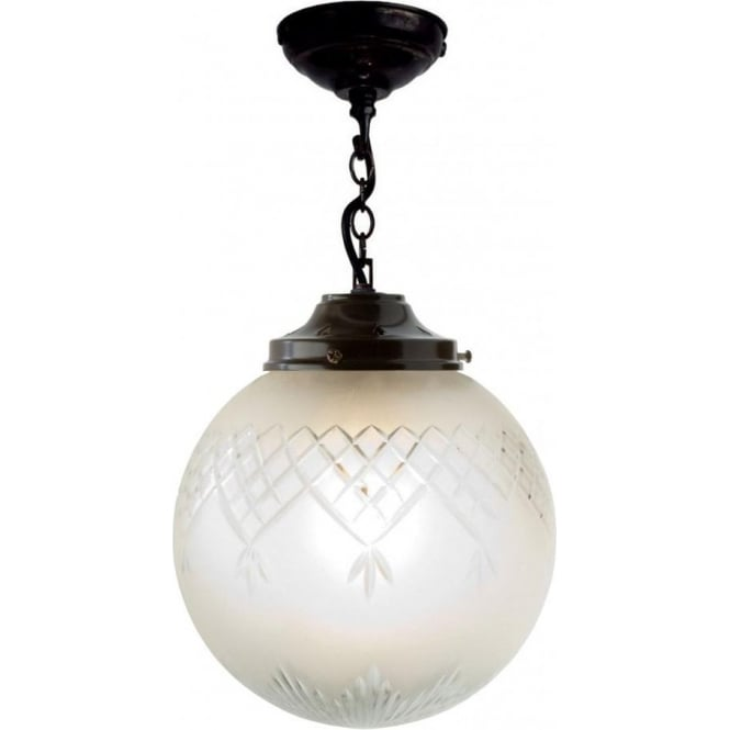 Traditional Antique Victorian Hall Lantern with Cut Glass ...