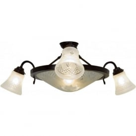 PINESTAR traditional semi-flush ceiling light with cut glass shades