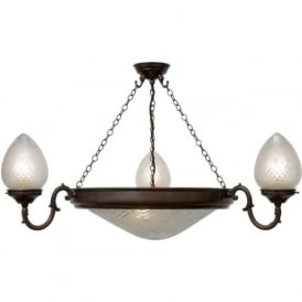 PINESTAR traditional uplighter ceiling pendant light with cut glass shades