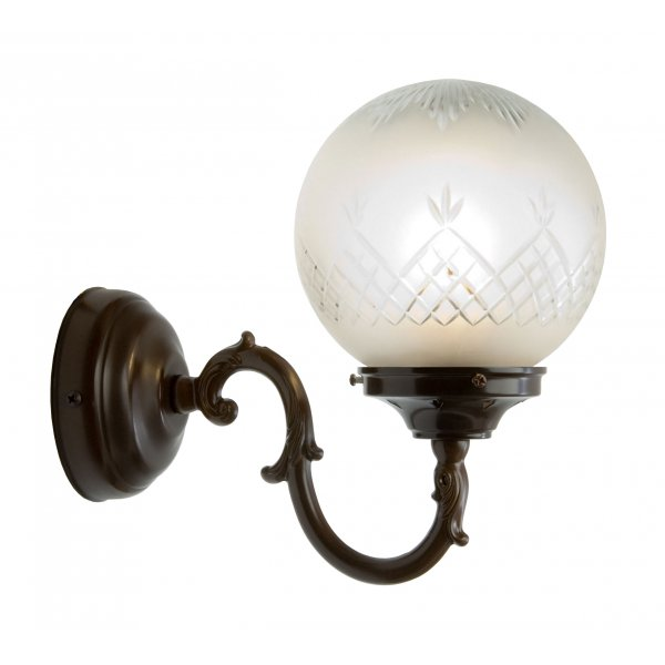 Traditional Antique Wall Light With Patterned Glass Globe