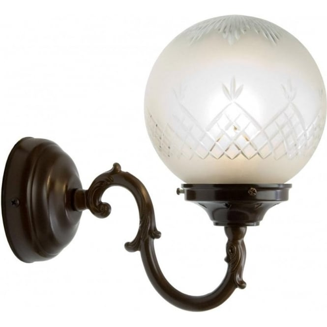 Traditional Antique Wall Light with Patterned Glass Globe Shade