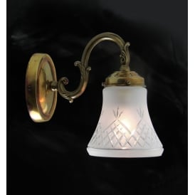 PINESTAR Victorian distressed brass single wall light with cut glass shade