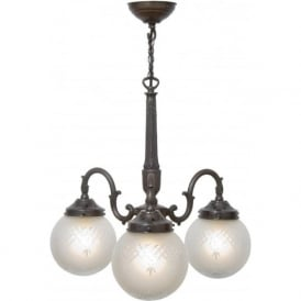 PINESTAR Victorian or Edwardian ceiling light with cut glass globe shades