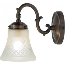 PINESTAR wall light in antique finish with cut glass shade