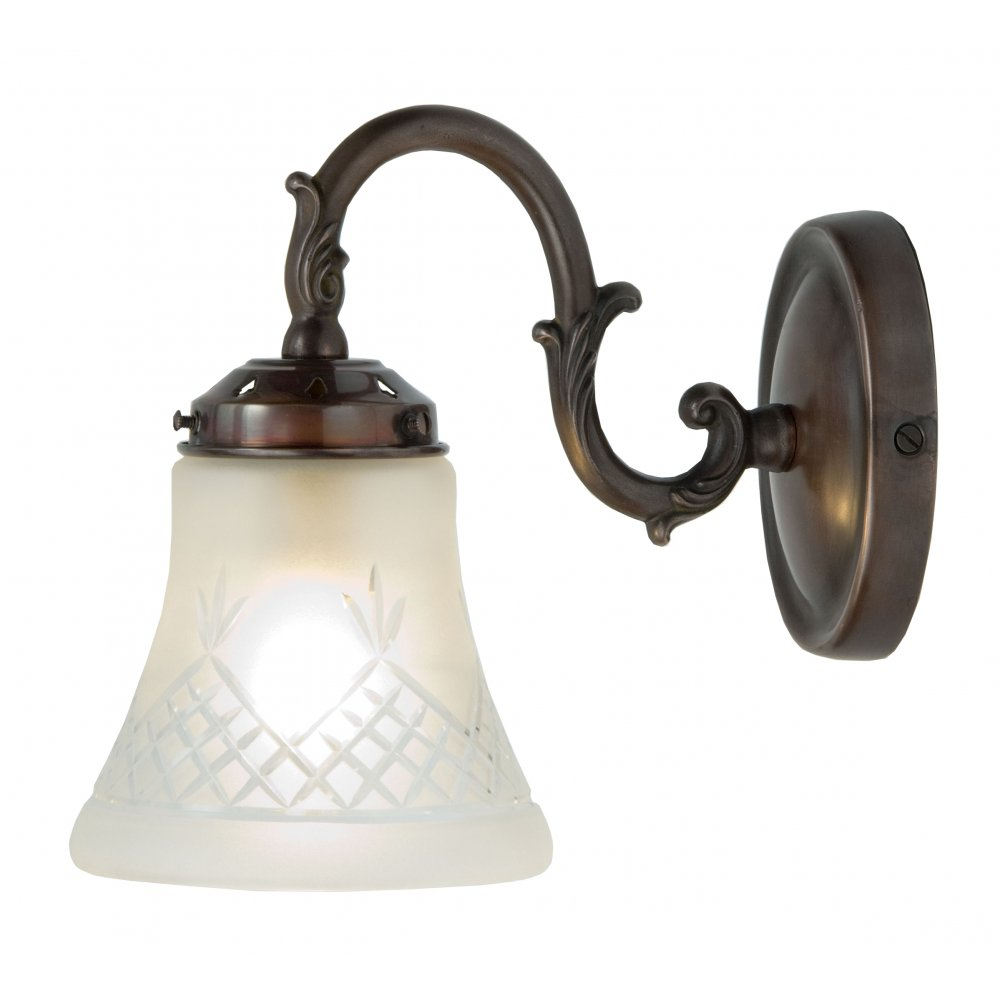 Victorian Singlw Wall Light on Antique Fitting with Cut Glass Shade