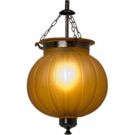 PUMPKIN exotic amber glass lantern on antique frame