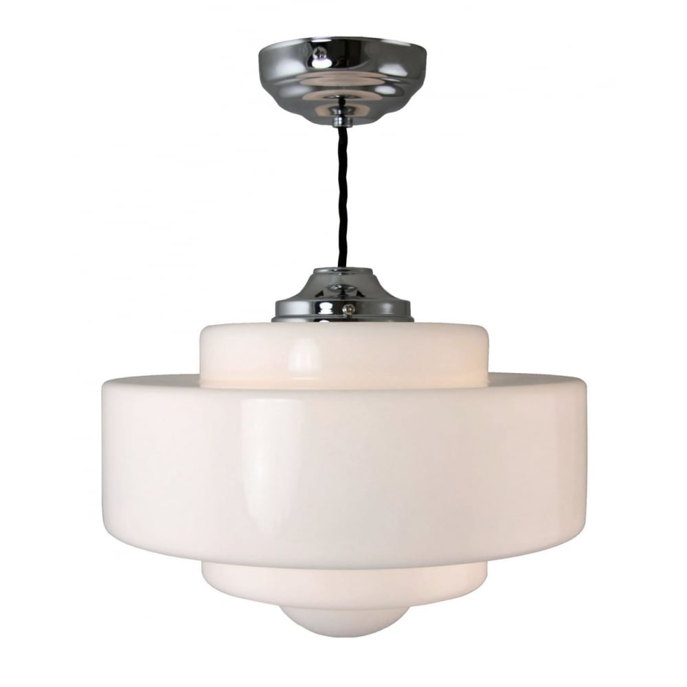 Deco inspired ceiling pendant with school house style opal glass shade