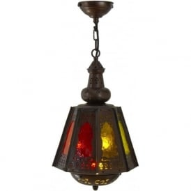 SOUK LANTERN antique filigree metal lantern with coloured glass