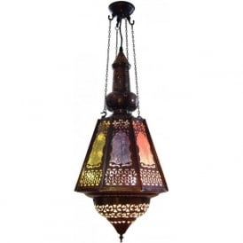 SOUK LANTERN antique filigree metalwork with coloured glass