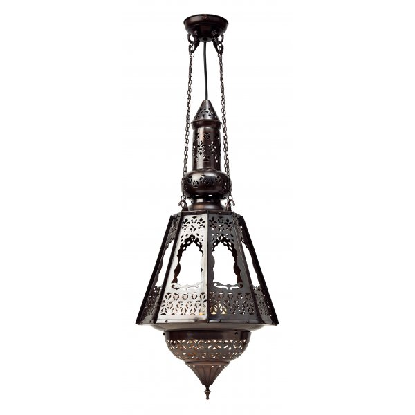 Exotic Middle Eastern Hanging Lantern With Intricate