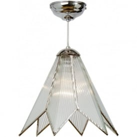 STAR Art Deco chrome and glass ceiling pendant