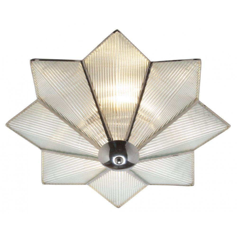 Flush Fitting Art Deco Star Glass Low Ceiling Light On Chrome Fitting