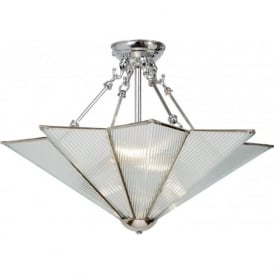 STAR Art Deco chrome and glass uplighter ceiling pendant