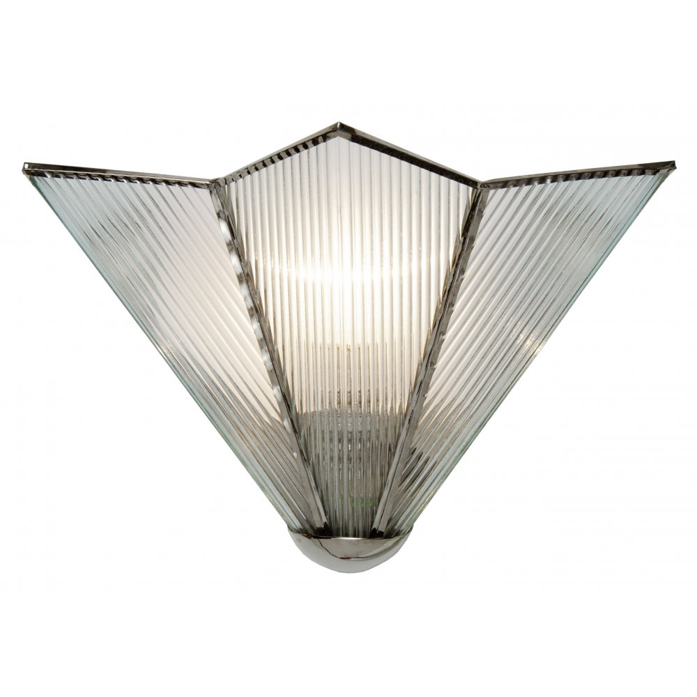 Art Deco Uplighter Wall Washer Wall Light with Star Glass Shade