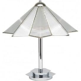 STAR Art Deco style chrome and glass table lamp
