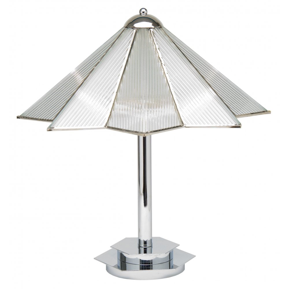 Art deco table lamp on chrome base with clear glass star shade for Art deco style lamp