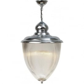 STOWE large hall lantern, Art Deco style chrome and glass