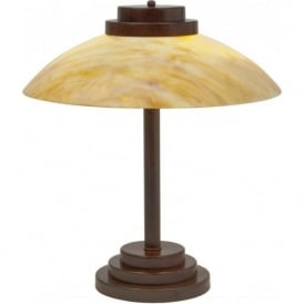 STRATTON Art Deco table lamp with amber glass shade (antique)