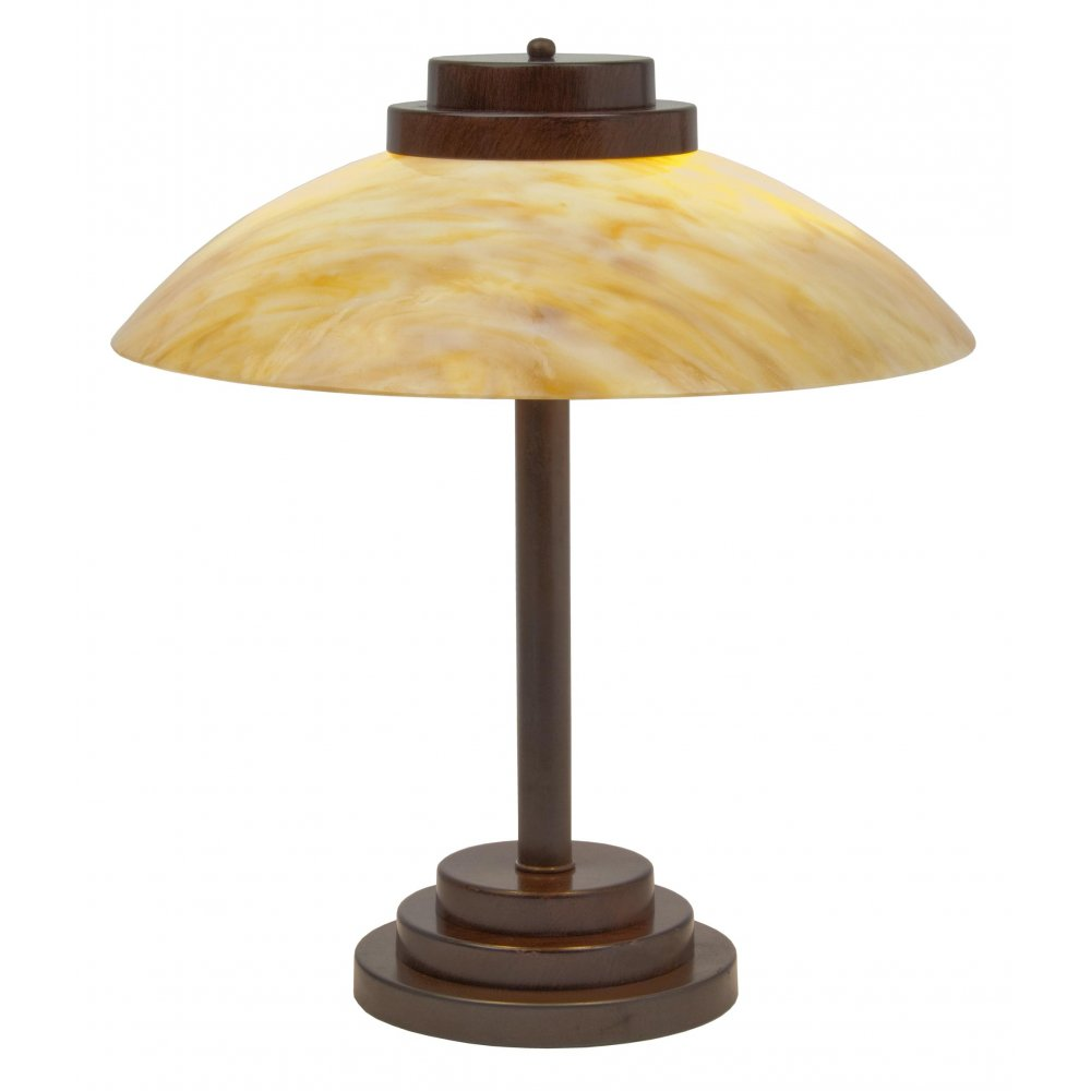 Art Deco Table Lamp With Amber Marbled Glass Shade On Antique Base