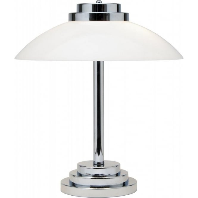 Typical art deco style table lamp chrome base with opal glass shade stratton art deco table lamp with opal white glass shade chrome aloadofball Image collections