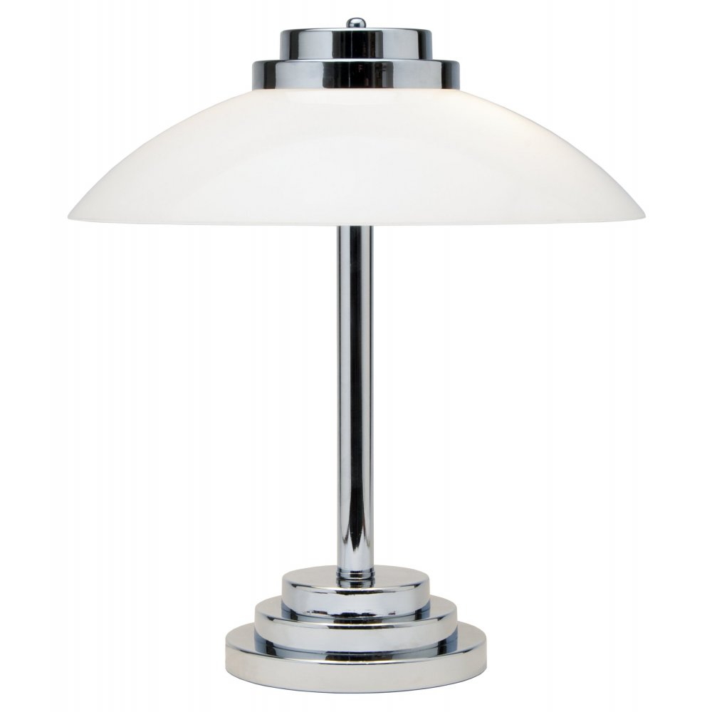 Typical art deco style table lamp chrome base with opal for Art deco style lamp