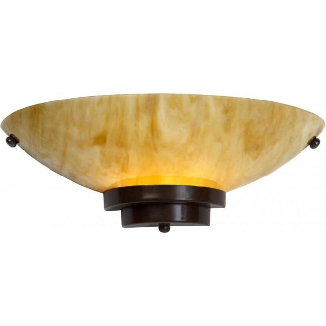 Amber Marbled Glass Flush Fitting Wall Light in 1920\'s Art Deco Style