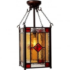 VICTORIA stained glass Victorian square panelled hall lantern
