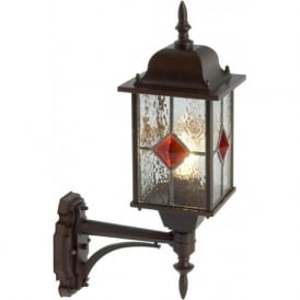 VICTORIA traditional antique leaded glass outdoor wall lantern