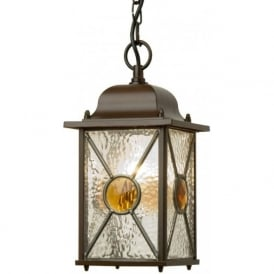 VICTORIA traditional hanging porch lantern with coloured glass