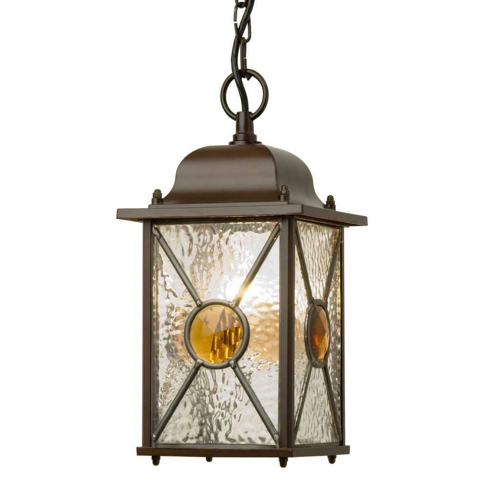 Antique Hanging Porch Lantern With Leaded Textured Glass Panels