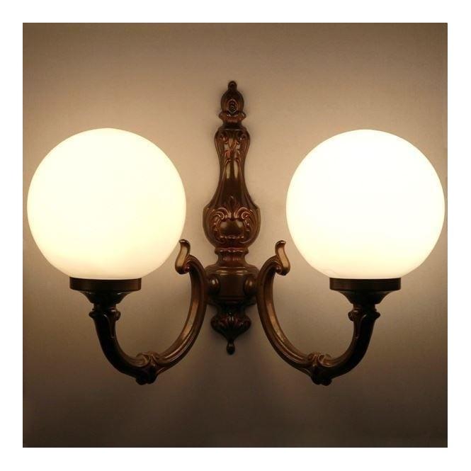 Victorian Opal Glass Globe Wall Light, Vintage Double Globe Lamps
