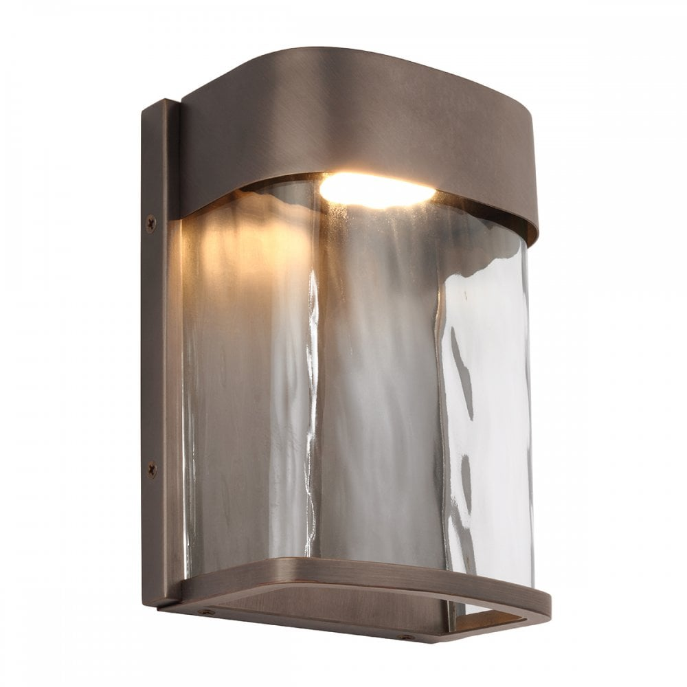 Small Led Ip44 Garden Wall Light In Bronze With Water Effect Glass