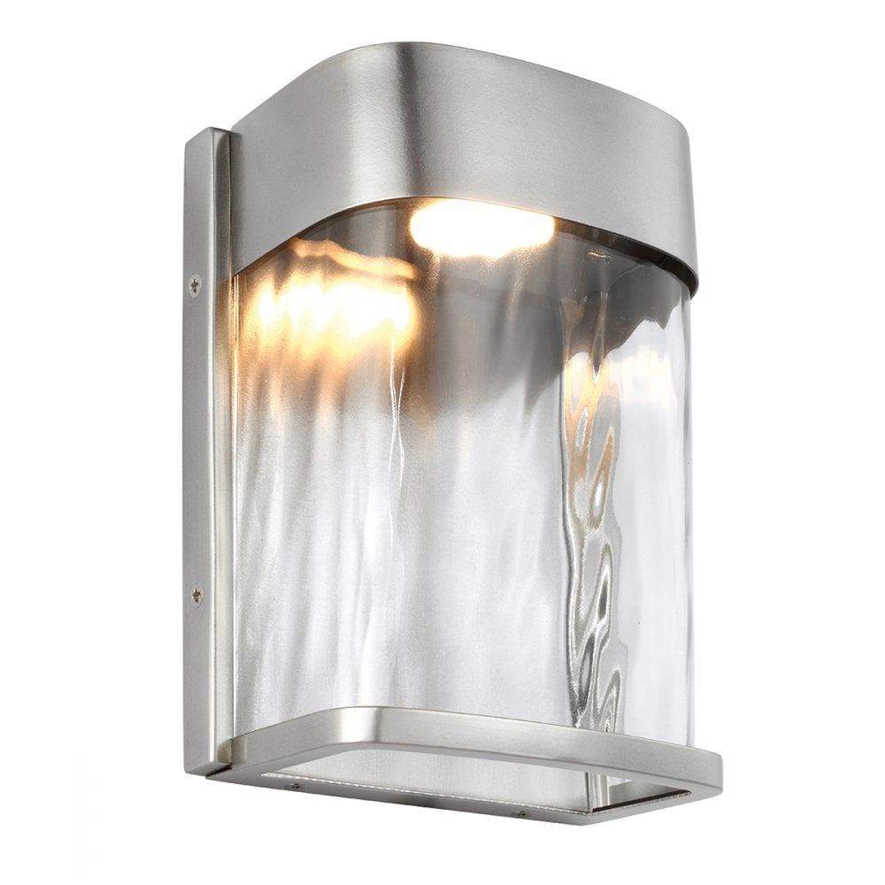 Modern Led Outdoor Wall Light In Brushed Steel With Water Effect Glass