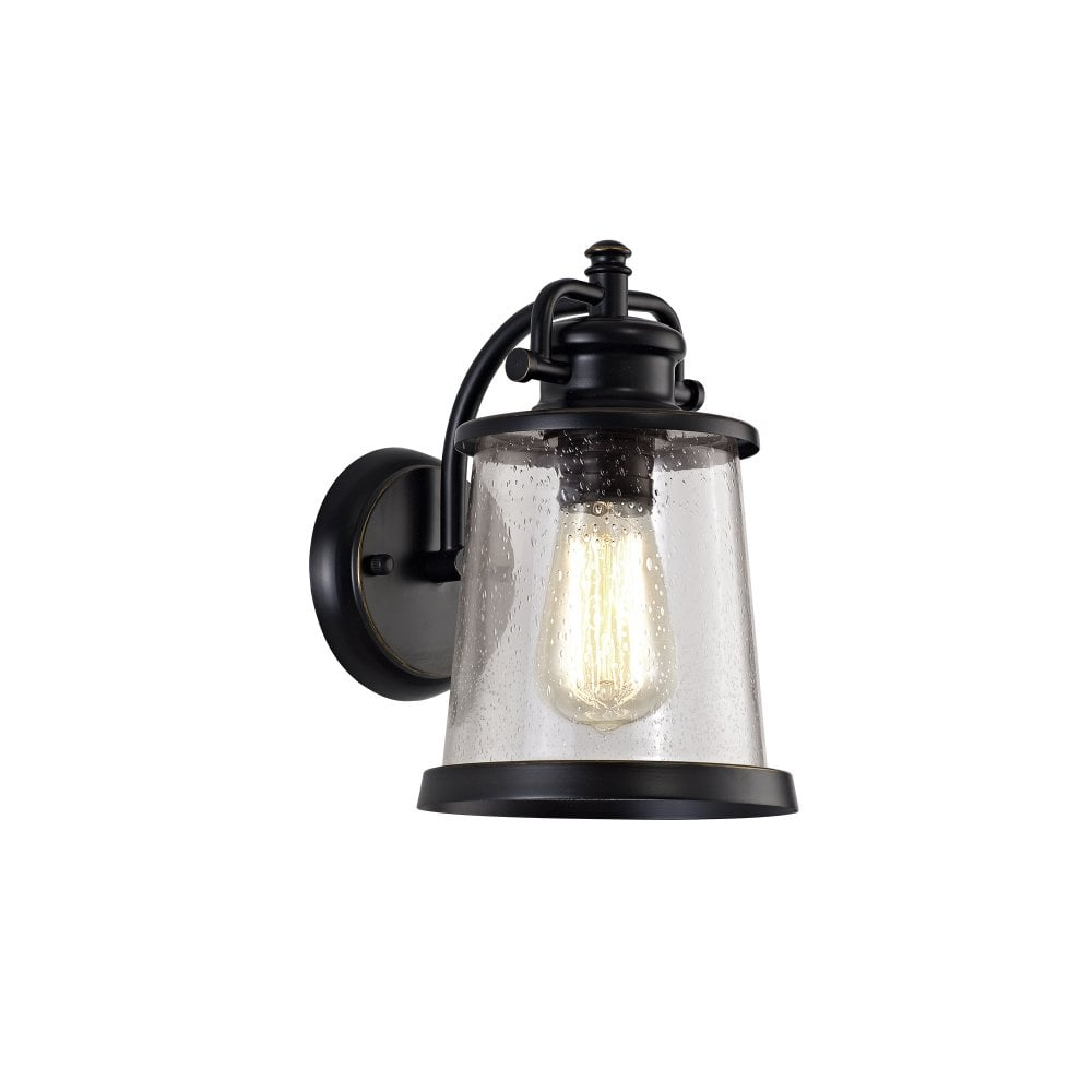 Outdoor Wall Light In Black With Gold Highlights And Seeded Glass Shade